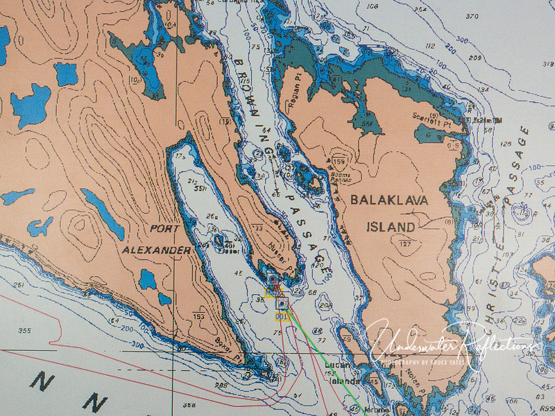 A close-up map of Browning Pass.  This area is considered perhaps the best cold-water diving in the world, due largely to massive, nutrient-rich currents that flow through it.