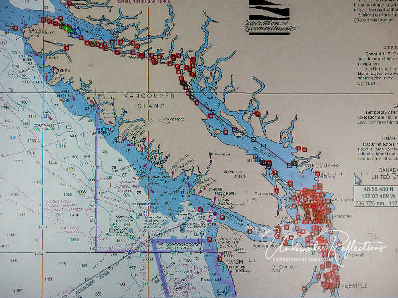 Port Hardy is at the North end of Vancouver Island - where the green boat is on this GPS screen.  Note Seattle at the bottom right for reference.