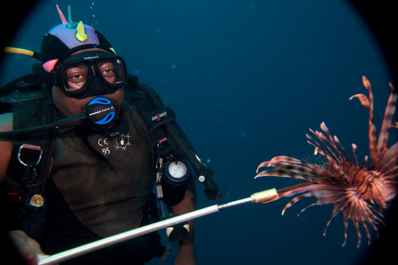 For Davit the true meaning of life was killing Lionfish.  In this picture Davit is truly a happy camper.
