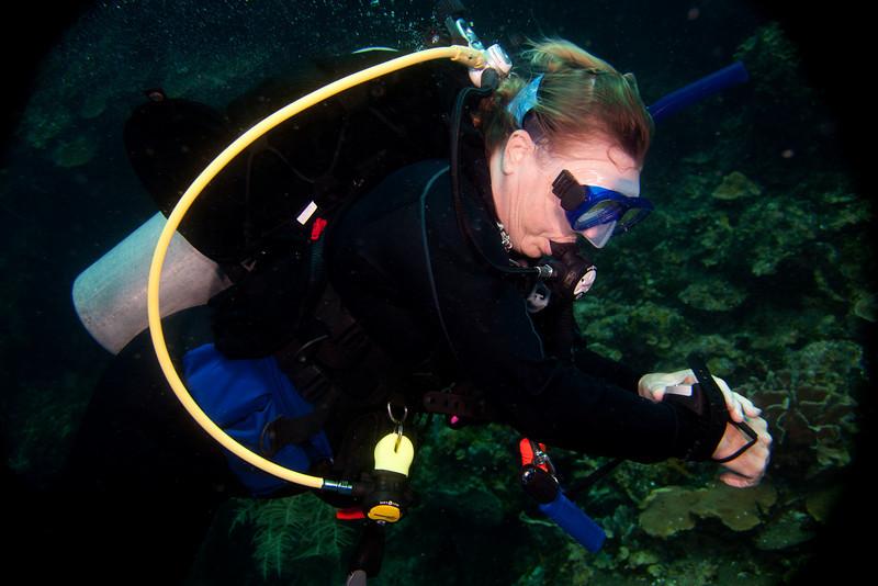 Janet Ellis checking her depth.