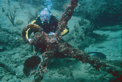My buddy Ron posing by original anchor of S.S. Copenhagen which sunk near Pompano Beach in 1900.  The wreck is an official historical site.