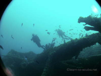 Tec divers on the Ande wreck, Jupiter, Florida.  Summer, 2012.