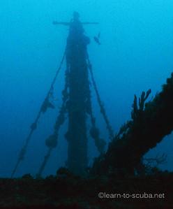 Mast and boom.  Miller Lite wreck.  Pompano, Florida.
