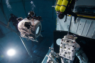 Howard Hall filming IMAX Hubble at the Neutral Buoyancy Laboratory at NASA