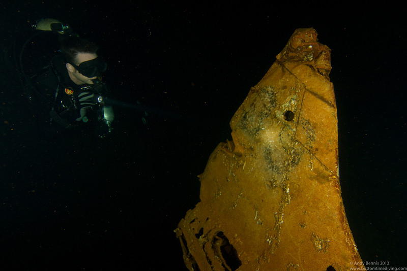 Tail number of A5M 'Claude' Japanese fighter plane in the hold of the Fujikawa Maru<br /> Truk Lagoon 2013