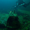 Japanese Zero fuselage and cockpit in the hold of the Fujikawa Maru.<br /> Truk Lagoon 2013