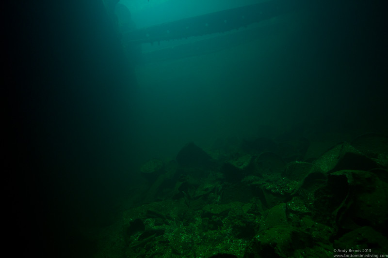 One of the many holds of the Fujikawa Maru.<br /> Truk Lagoon 2013
