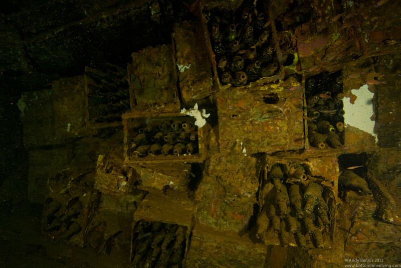 Bottle of beer in the hold of the Rio De Janeiro Maru.<br /> Truk Lagoon 2013