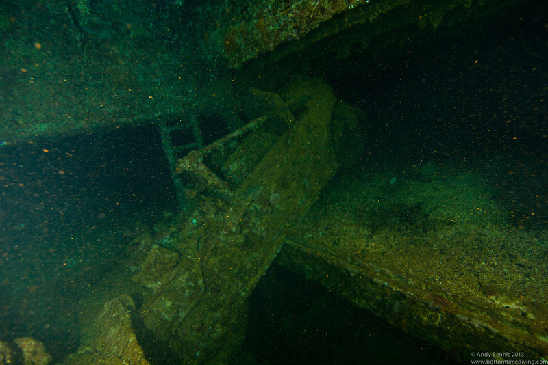 Construction roller hanging on in the Hoki Maru<br /> Truk Lagoon 2013
