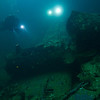 Japanese Zero (Mitsubishi A6M fighter) in the hold of Fujikawa Maru.<br /> Truk Lagoon 2013