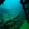 Engine room of the Kensho Maru.<br /> Truk Lagoon 2013