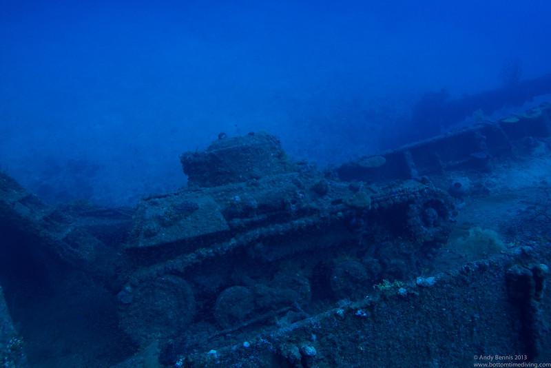 Light artillery tank on the deck of the Nippo Maru.<br /> Truk Lagoon 2013