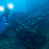 Truck chassis on the deck of the Nippo Maru.<br /> Truk Lagoon 2013