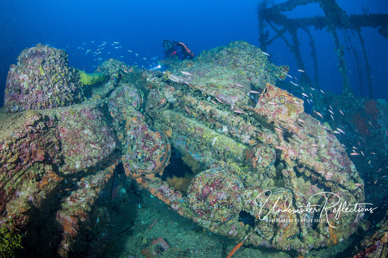 Two tanks sit jammed together on the deck of the San Francisco Maru at a depth of 165 ft.