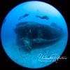 Divers swim above the aft of a sunken ship lying upright on a sandy bottom.