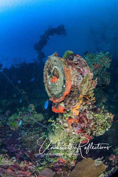 A telegraph machine on the bow of a wreck.
