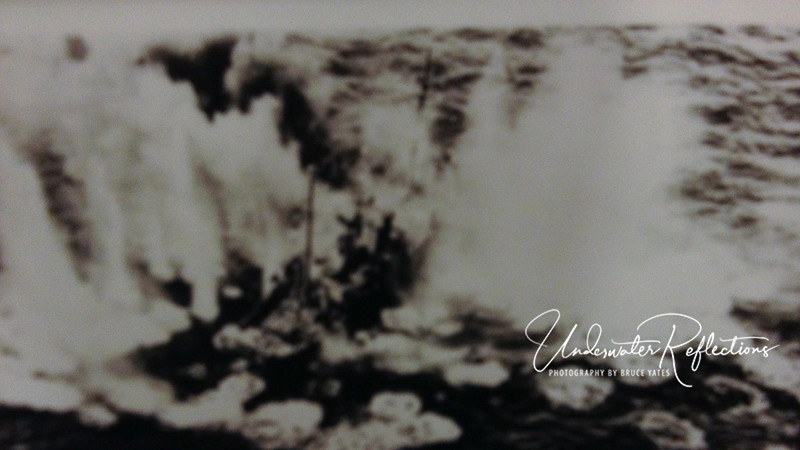 Although I couldn't get a good photo of this old photo, you can see that the ship in the middle is a sitting duck, and both it and the sea around it are being pummeled by U.S. fighter planes.