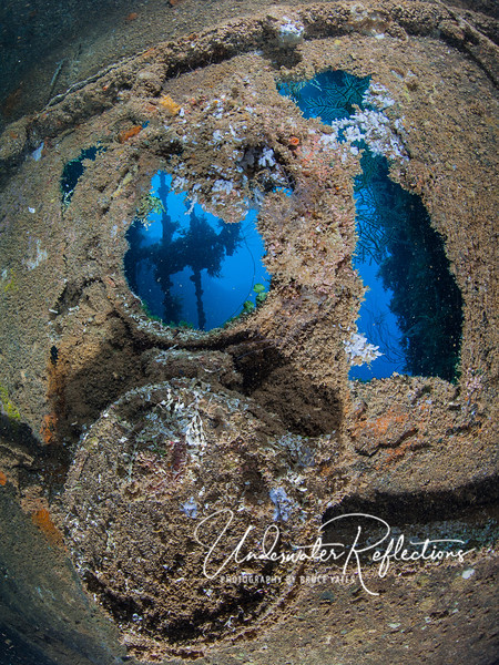 Facing the deep.  This porthole and torn ship's skin look oddly like a face to me.
