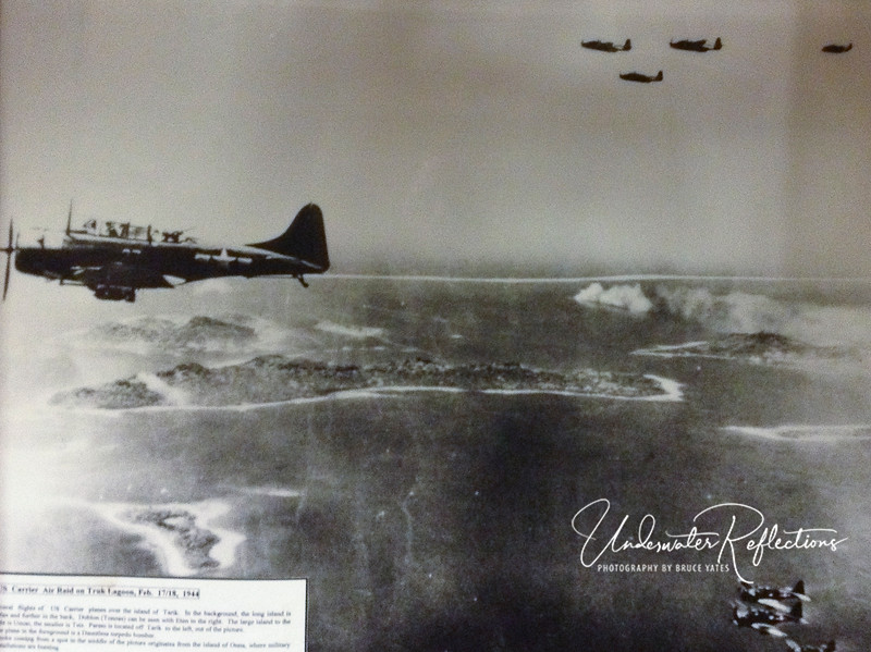 I thought I'd end this gallery with a few actual photos taken by U.S. planes during the bombing of Truk that day in 1944.  These prints hang in the lobby of the Truk Lagoon Resort.  This one is of U.S. bombers, including the photographer's wingman and two other squadrons (one above and another below).