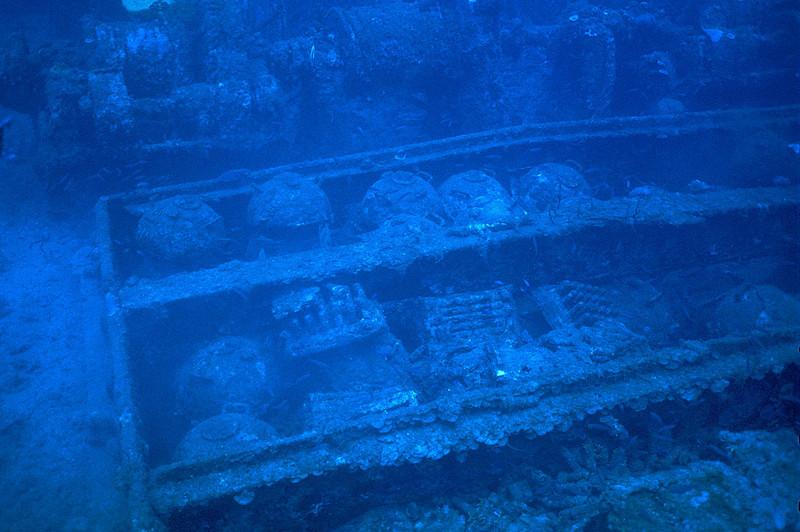 mines, San  Francisco Maru, Truk Lagoon, 1983