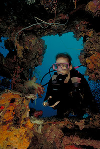 Ursula Pemrose explores the bridge of the Shinkoku Maru.  Alert Diver Magazine - Cover photo, March 2001 issue Divers Alert Network (DAN) http://www.diversalertnetwork.org/