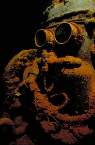 The compressor in the machine shop of the Fujikawa Maru was nicknamed R2D2 by Jim Church.  1994 Ford Seahorses Photo Competition - Sixth Place, Wreck category