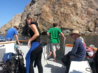 Twin Rocks dive site.  Peace dive boat, Catalina Island, CA.