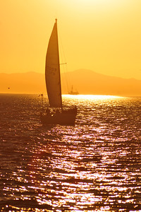 © Joseph Dougherty. All rights reserved.  Sailboat in the channel between Ventura and Anacapa Island.  Santa Barbara channel, Santa Barbara Co., CA.