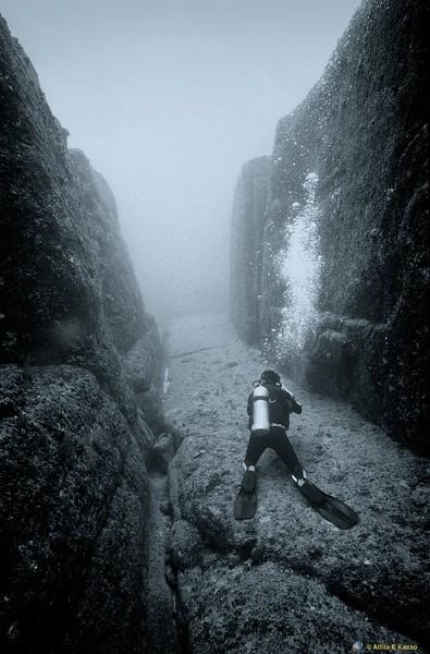 Diver in Trench<br /> Yonaguni, Japan