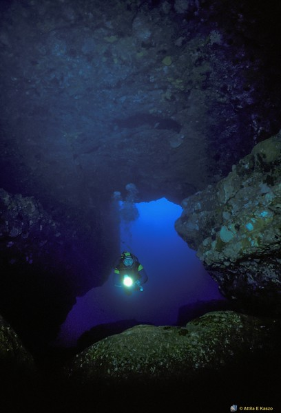Sea Cave / Diver<br /> Beecroft Peninsula, Jervis Bay, Shoalhaven, NSW