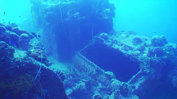 The Kensho Maru had been heavily damaged during the earlier attack on Kwajalein in the Marshall Islands.  The Kensho had been towed to the Japanese Fourth Fleet supply base in Truk Lagoon for repair, and was unmanned at the time of the surprise attack that sent her to the bottom of the lagoon.