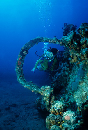 Cathy Church explores the bow of the Royal Mail Ship Rhone. Salt Island, BVI
