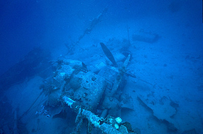 Japanese seaplane sunk off Ebeye, Kwajalein Atoll. April 6, 1980