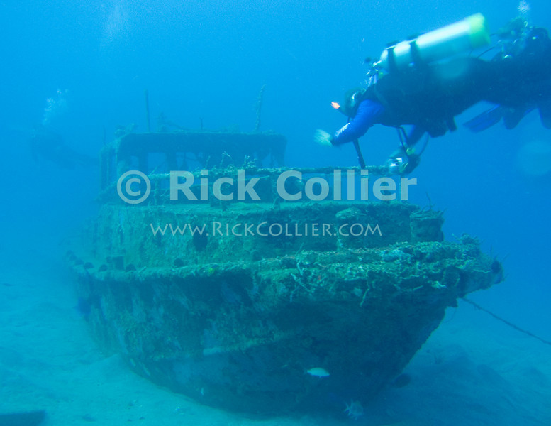 St. Eustatius (Statia) Underwater - The Jean Marie -- A sunken boat on the same dive site as the Chien Tong ship wreck.  © Rick Collier