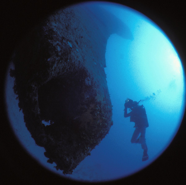 Bow of Prinz Eugen from 110 ft looking up. Kwajalein 1980