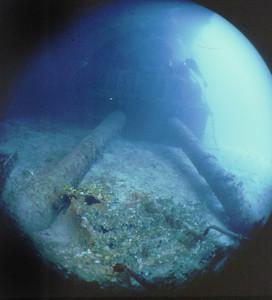 Main gun turret, Prinz Eugen, Kwajalein Atoll. May 2, 1981