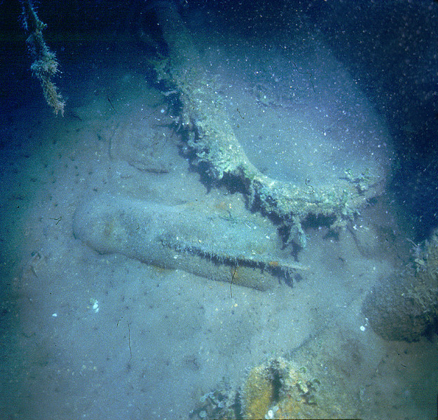 Akibasan Maru (P-wreck). Bomb chipped corner of bathtub aboard the Japanese wreck. Kwajalein Atoll.