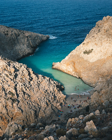 One of Crete's most beautiful beaches– Seitan Limani – pictured from above.