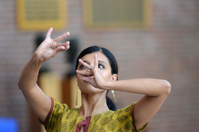 Aparna Ramaswamy performs a  portion of a Ragamala Dance during a lecture Wednesday afternoon at Bucknell University. The dance uses hand gestures, foot and body movement, and expression to convey a emotion and idea.