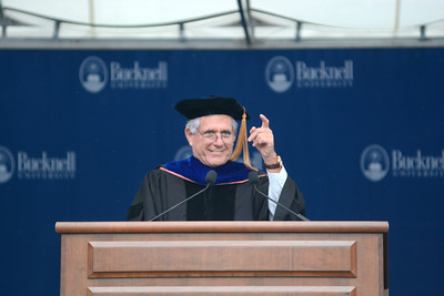 Leslie Moonves gave the commencement address on Sunday during Bucknell University's graduation.