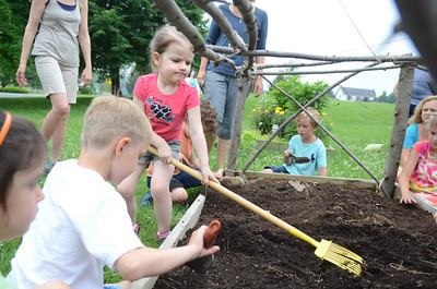 Annabelle Geist, 4, uses a rake to break up the soil for a garden at the Union County Library on Monday for the Kids In The Garden program that meets on Monday mornings at 10 a.m.