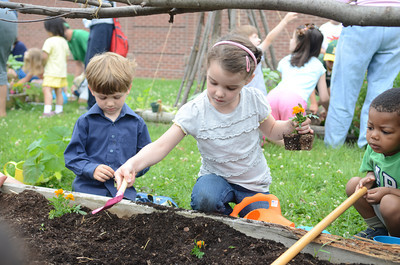 Jack Mulligan, 5, left, Lewisburg and Finlee McBride, 5, help plant gardens at the Union County Library on Monday.
