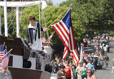 The USS Constitution makes her way down Market Street at Lewisburg's 4th of July Parade Saturday June 30, 2012.