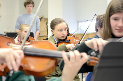 Rebekah Smith, 16, practices her music during class on Wednesday at the Lewisburg High School.