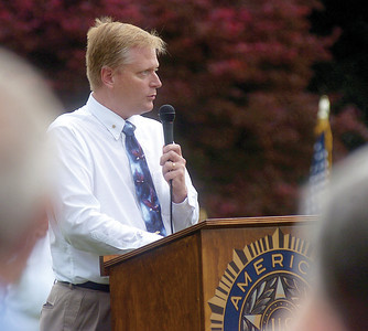 Fred Keller speaks during the Memorial Day ceremony held after the parade in Mazeppa on Sunday.