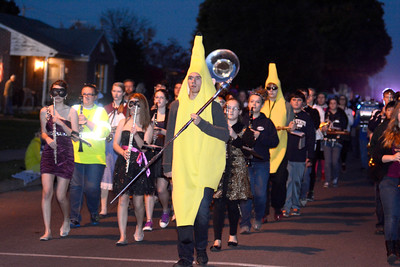 The Mifflinburg High School marching band lead the way during Mifflinburg's Halloween Parade on Monday night.