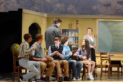 Mifflinburg High School students rehearse for their production of David and Lisa on Monday evening.