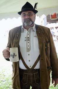 Gary Deutschle, of Lewisburg, poses in his lederhosen.