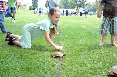 Rebekah Erdly, 7, crawls after her turtle Yellow on Wednesday during the New Berlin Turtle Derby day.