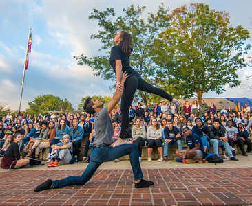 Members of the Bucknell Dance Company, Ivan Flores and Genna Hartnett, perform for the crowd during Tuesday's Solidarity Rally in Lewisburg.